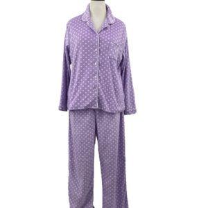 Aria Microfleece Sleepwear Pajama Set Purple White